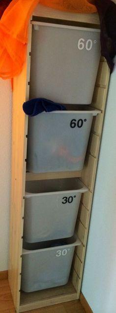 Laundry organizer: fitting the washer's drum! - IKEA Hackers. smart! färdigsorterad tvätt :)
