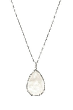 Pear Mother of Pearl Doublet & Pave CZ Pendant Necklace