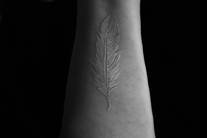 White ink: White Tattoo, Ink Tattoo, Tattoo Feather