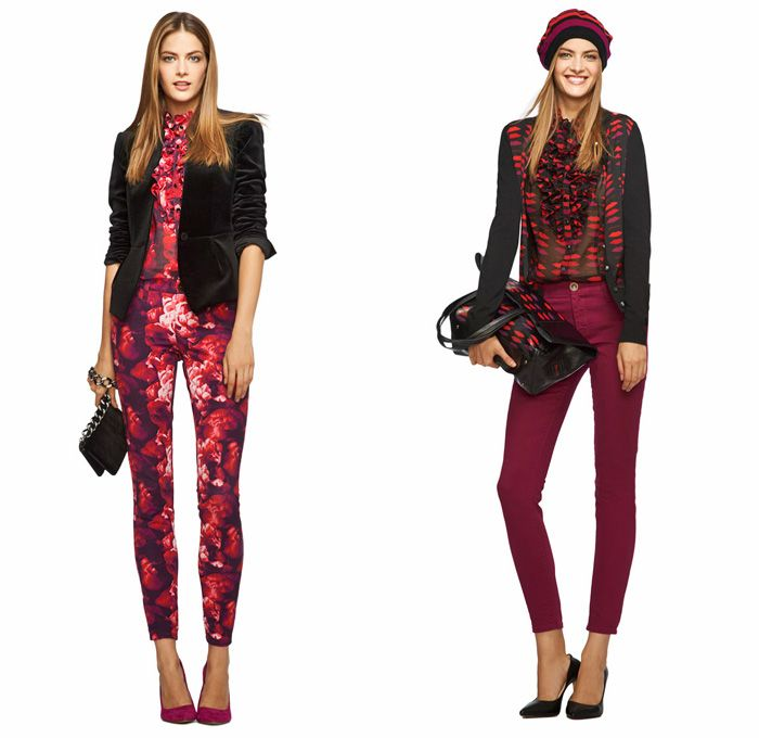 L'Wren Scott for Banana Republic 2013 Holiday Collection - 2013-2014 Fall Winter Womens - Ornamental Printed Jeans Metallic Sequins Embellis...