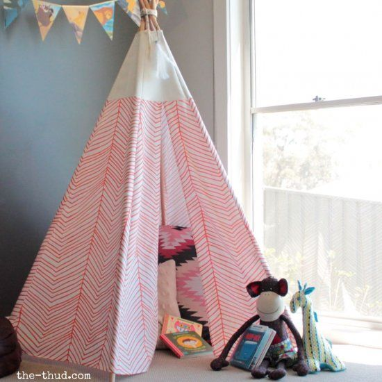 Full instructions on how to make your own cute kids teepee - including a no-sew option. Quick, cheap and easy!