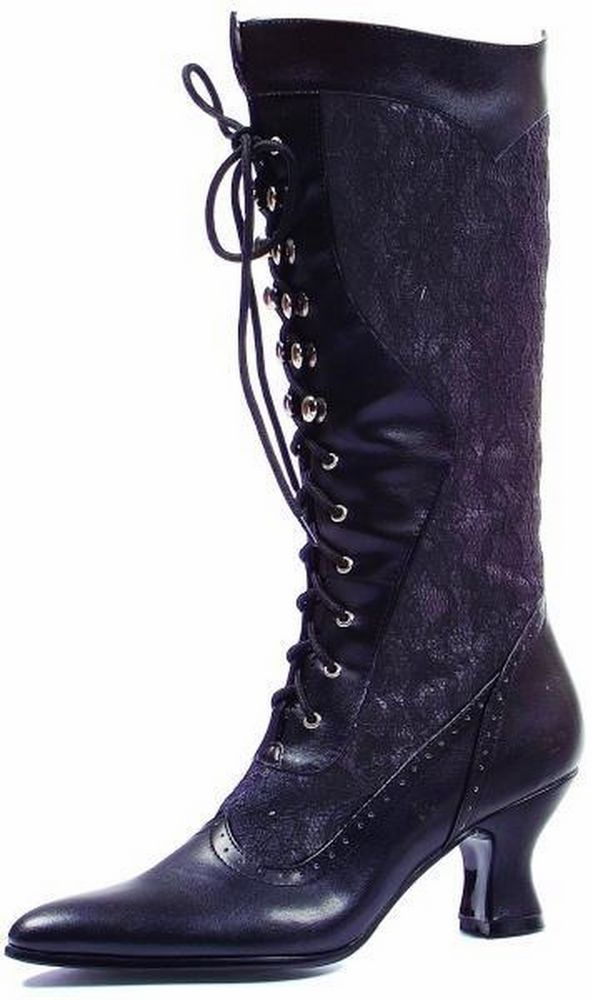 ELLIE SHOES Victorian Boot Mid Calf Front Lace Up 253-REBECCA Black  #EllieShoes #Boots