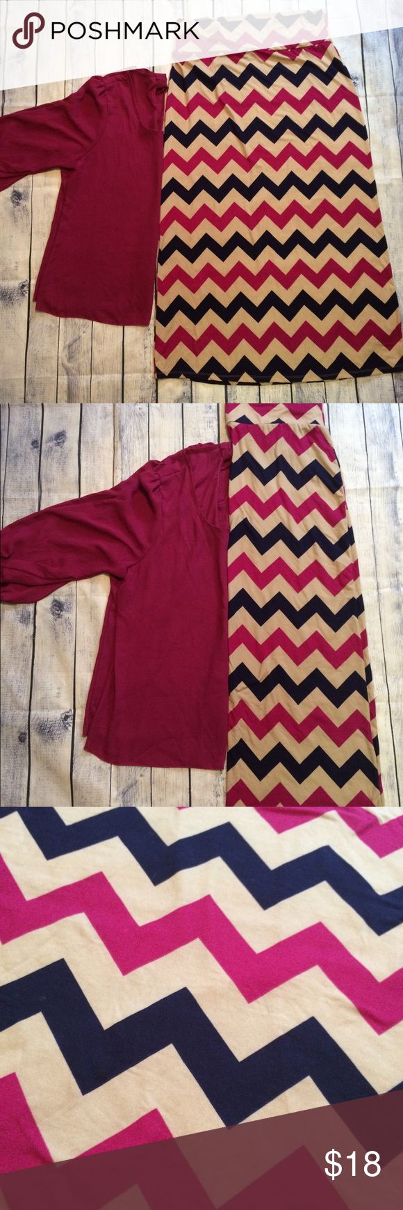 Brushed chevron maxi skirt plus 2x nwot wine navy New without tags! Chevron print in wine, navy blue, and tan or dark cream. Matching blouse in my closet! Size 2x. Soft stretchy brushed fabric maxi skirt. Make me an offer! 20% off all bundles! Rue21 Skirts Maxi