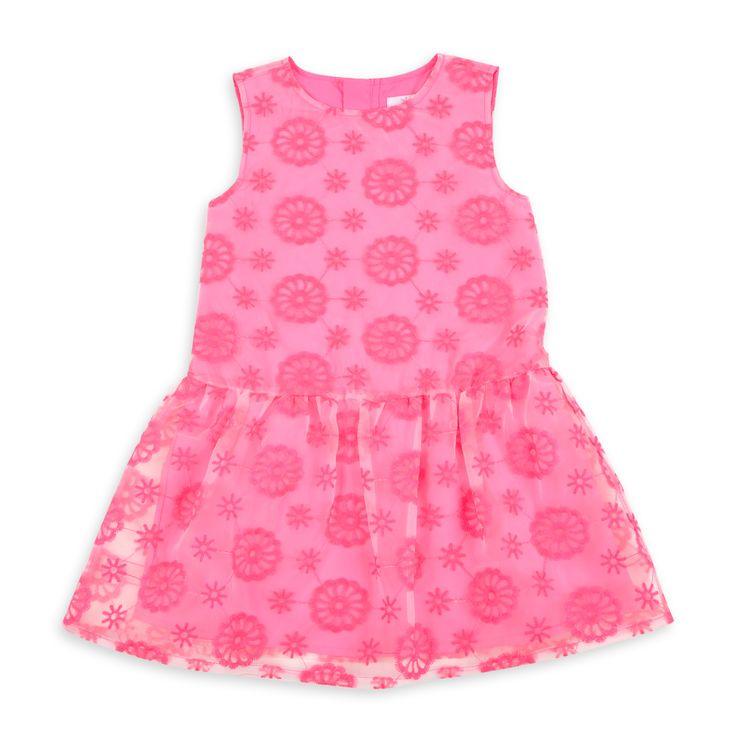 Vestido EPK para niña en rosado neon de tul con detalles de ojete.