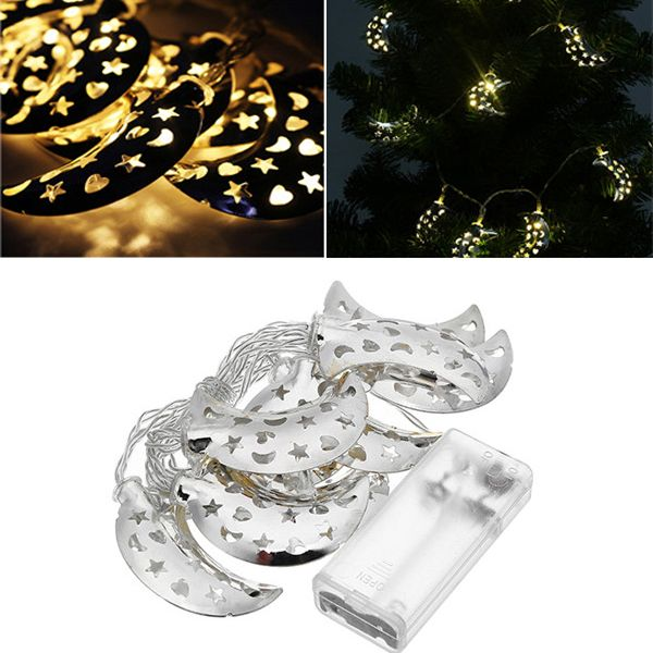 Battery Operated 10LEDs Silver Metal Moon Shaped Warm White Indoor