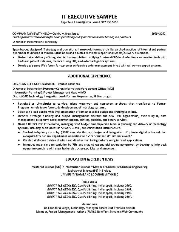 Sample Two Page Resume Resume Examples It Manager  Resume Examples  Pinterest  Resume .