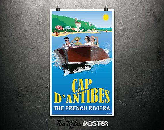 Cap D'Antibes  The French Riviera  Travel Poster France