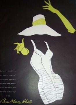 Rose Marie Reid Swimwear vintage  ad, 1950s.  bathing suit