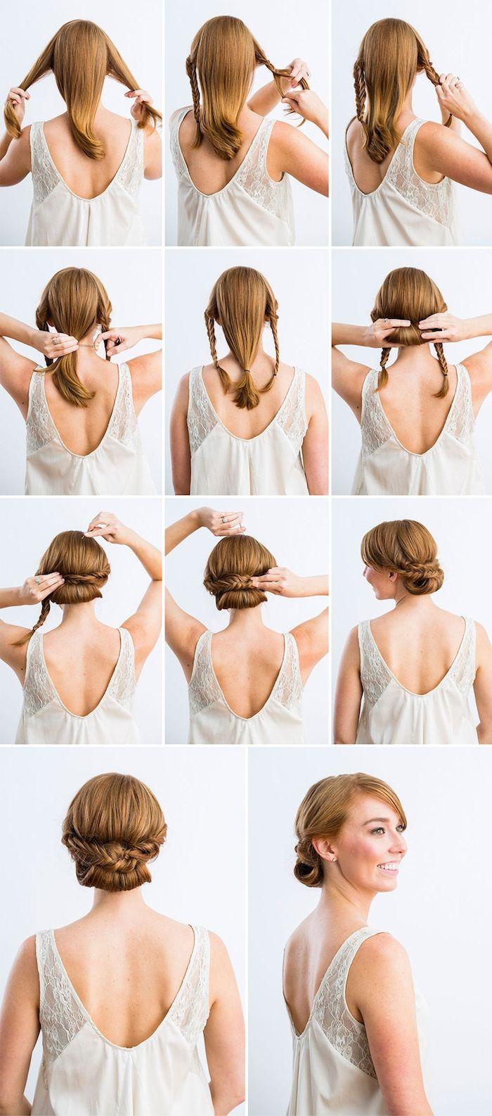 Zwei Zöpfe flechten und zum Dutt stylen, Schritt für Schritt Anleitung für el… – Haarfrisuren