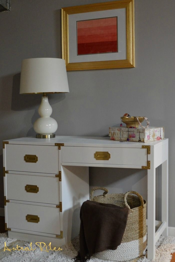 "DIY Painted vintage Bernhardt Campaign Desk. Solid Wood desk.  Paint: Behr Premium Plus Ultra Paint in ""Silky White"". Hardware: Spray painted using Rustoleum's Metallic Specialty Paint"