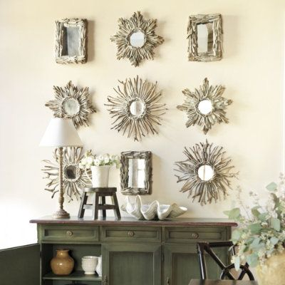 Driftwood sunburst mirrors
