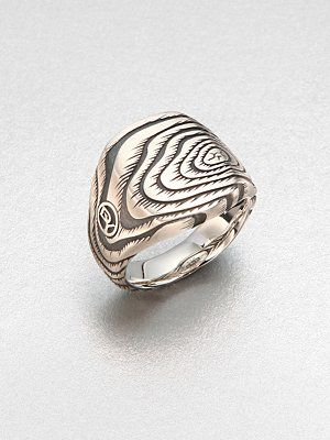 David Yurman elongated cushion wood grain ring