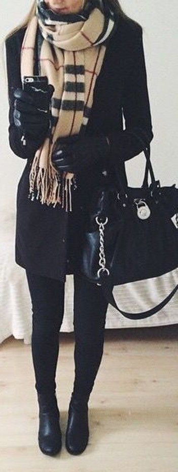 Dressy Winter Outfit Ideas for Women for Work – Black Trench Coat Burberry Scarf Michael Hill Satchel Purse Black Thigh High Boots – www.Poshiroo.com
