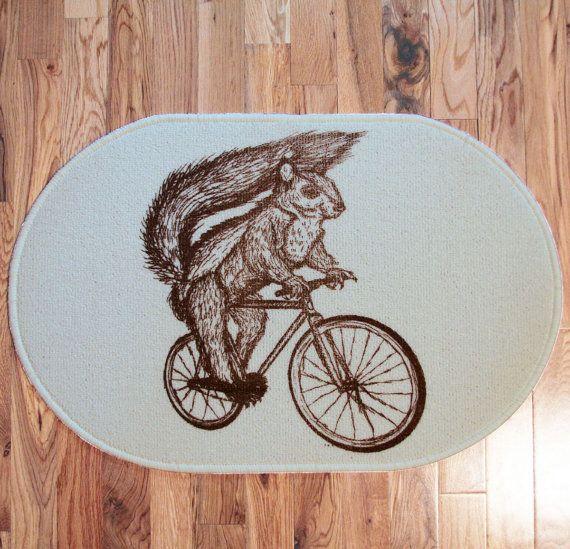 Screenprint RUG - Squirrel on Bicycle - Off white - Door mat or bath mat