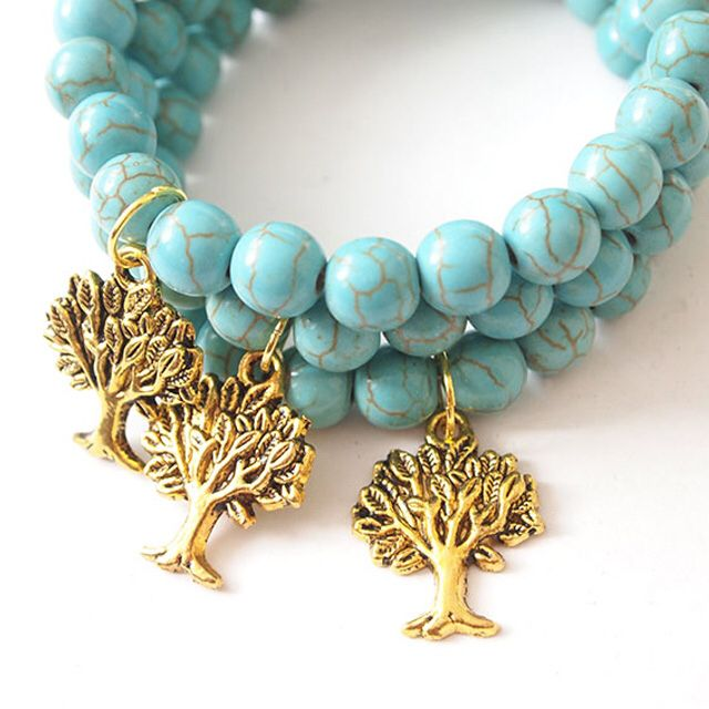 Turquoise & Tree of Life represents protection, wisdom, strength & peace✌️ Turquoise is perfect stone for healing, this bracelet will bring wisdom, It will protect you from negative thoughts   www.thepaprikashop.com