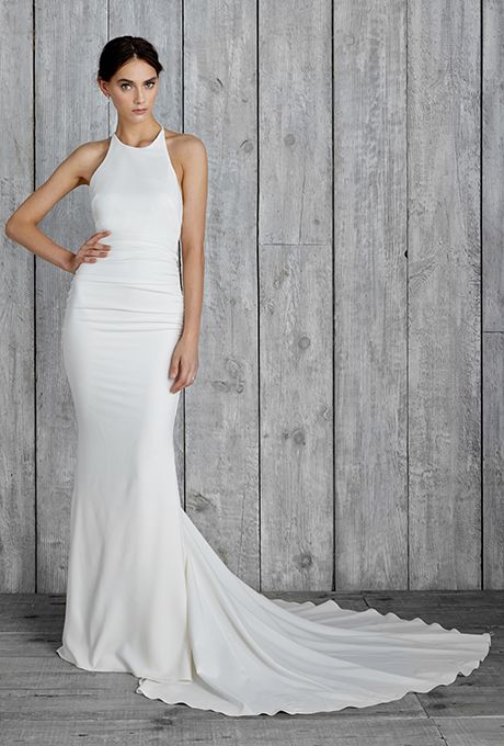 "Brides.com: . Style FJ10008, ""Morgan"" sleeveless halter silk twill sheath wedding dress with a high neckline, Nicole Miller"