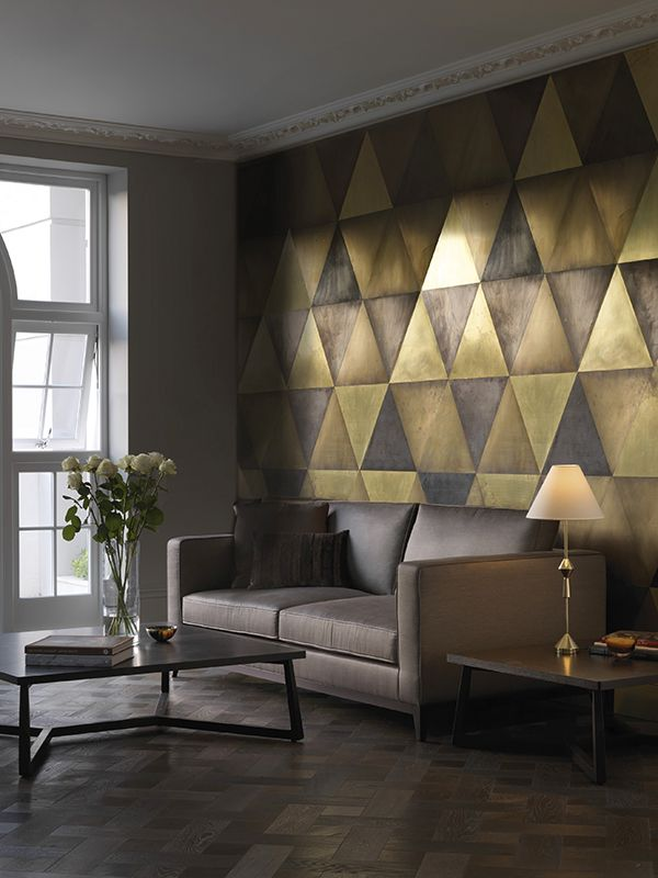 Maya Wall Tiles Brass, Semi Brass, Dark Brass And Bronze Triangular Tiles.  I Like The Idea Of Metal Wall Tiles.