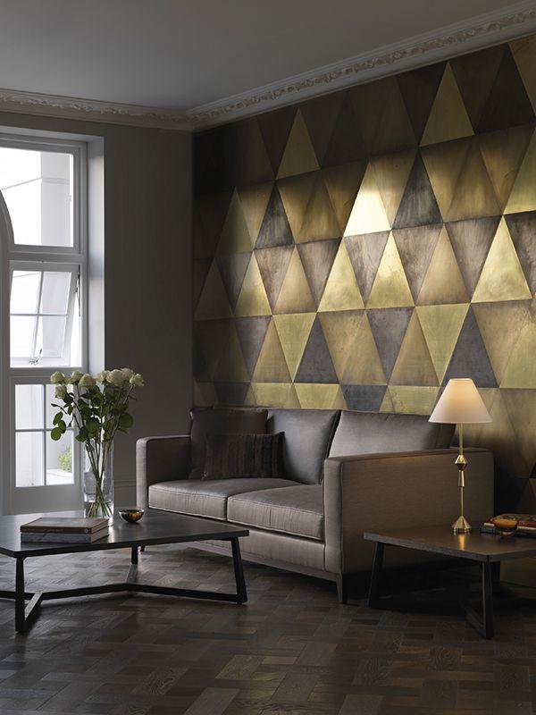 Maya Wall Tiles Brass, Semi Brass, Dark Brass And Bronze Triangular Tiles.  I Like The Idea Of Metal Wall Tiles.