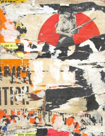 "Jacques Villeglé - Rue Des Halles decembre 1972  decollage mounted on canvas 25 1/2 x 20""  #decollage"
