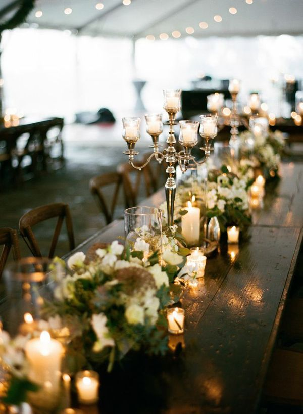 candelabra centerpieces + farm tables | Jamie Clayton #wedding ❥Repinned by www.huttonandhutton.co.uk