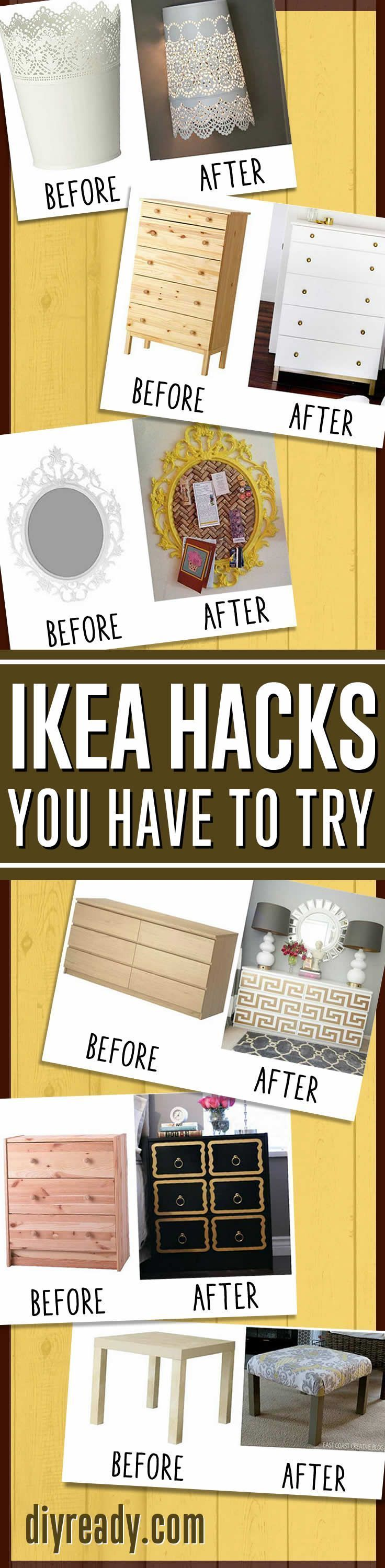 DIY Home Decor Ideas - IKEA Hacks Awesome Home Decor On A Budget By DIY Ready. http://diyready.com/15-amazing-ikea-hacks/