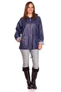 Women's Classic Rain Slicker: Hooded Plaid Lined Waterproof Raincoat