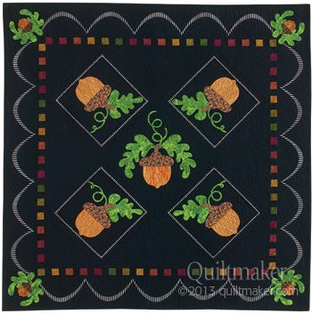 Falling Acorns, designed Sandy Fitzpatrick. Pattern available in Quilts from Quiltmaker's 100 Blocks, Fall '13.