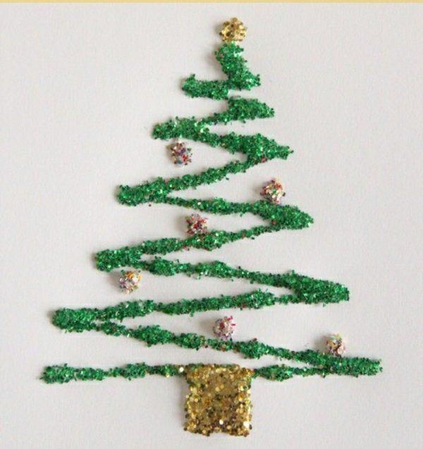 diy bastelideen weihnachten glitzern tannenbaum grün