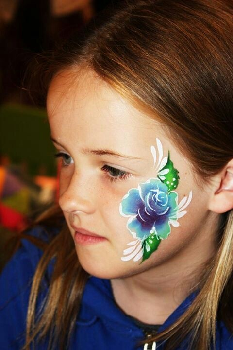 blue rose face painting