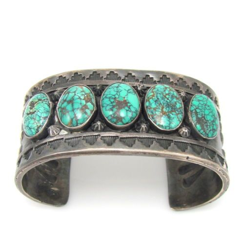 Navajo-TONI-CURTIS-Stamped-Sterling-Silver-High-Grade-Turquoise-Cuff-Bracelet-G