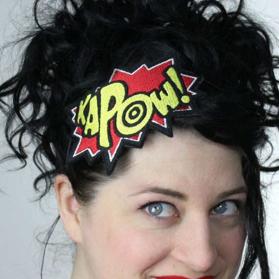 Superhero Headband, Kapow, Red and Yellow, Comic Headband Plus Other Colours