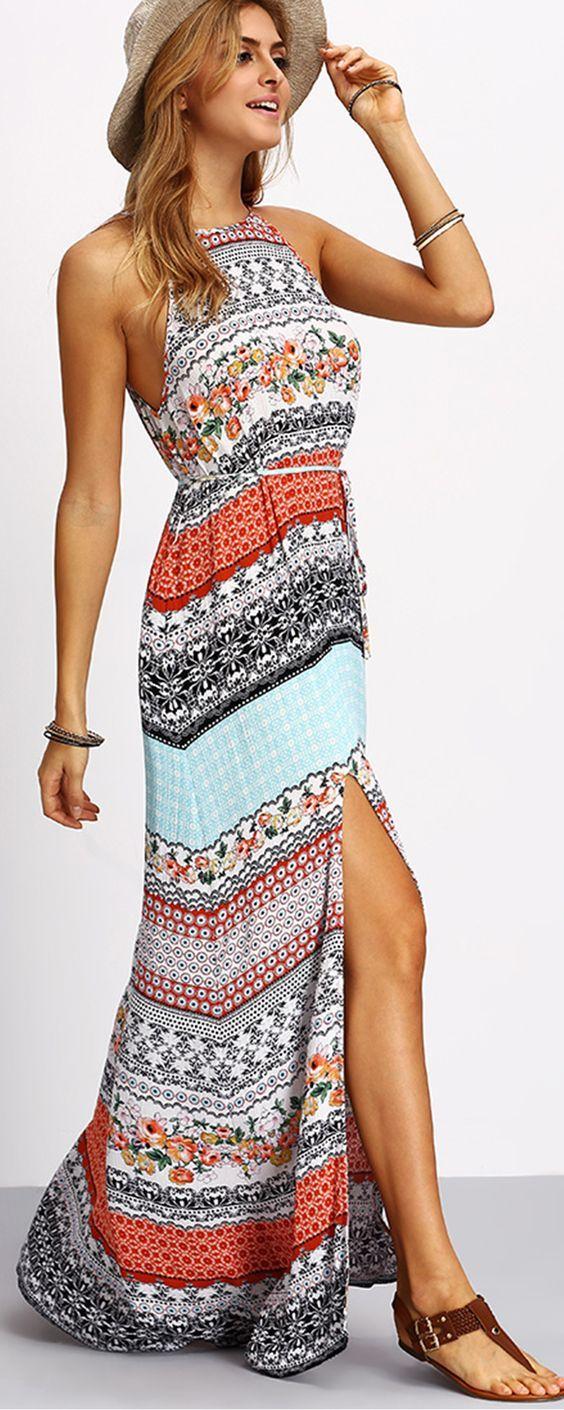 Multicolor Vintage Print Split Maxi Dress | Shop @ CollectiveStyles.com