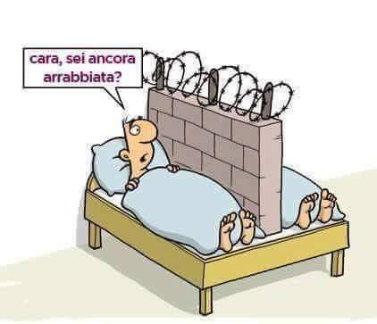 Foto Divertente: Moglie e marito nel letto con al centro un muro con filo spinato