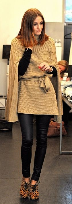 knitted cape, leather leggings and leopard shoes