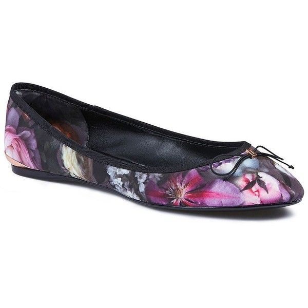 Ted Baker Imme Floral Ballet Flats ($100) ❤ liked on Polyvore featuring shoes, flats, purple, ballet pumps, almond toe flats, bow flats, floral ballet flats and purple ballet flats