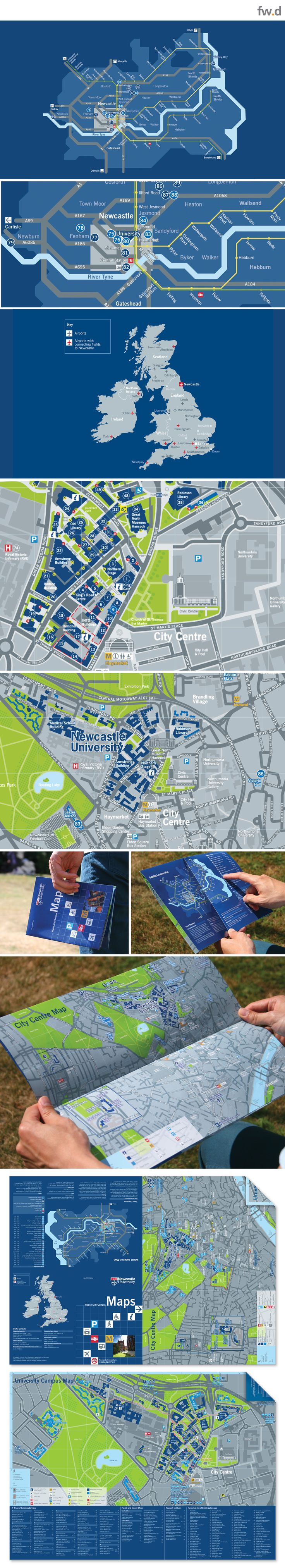 Range of campus wayfinding maps for Newcastle University by fwdesign
