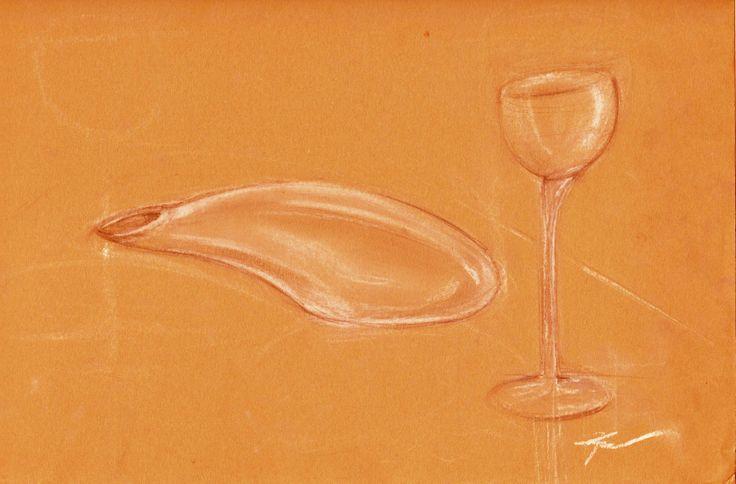 wine glass and carafa redesign, study of glass