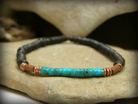 Mens Turquoise Bracelet,  Beaded Bracelet, Southwest Fashion Jewelry by StoneWearDesigns