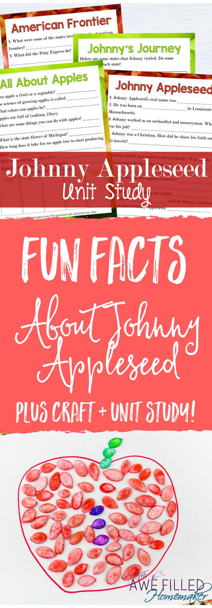The story about Johnny Appleseed is as American as Apple Pie. Join us as we learn fun facts about his story, work through the unit study, and enjoy a craft!