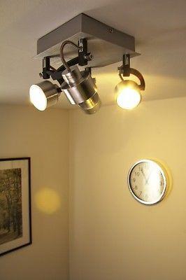 LED Ceiling spot light 4 x 5 Watt square design lamp pivotable lighting 55562