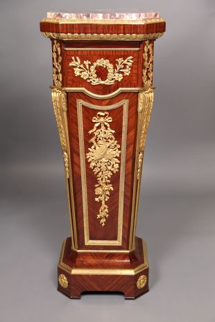 A Fine Late 19th Century Gilt Bronze Mounted Marble Top Pedestal - By Joseph Zwiener                                                                                         ...