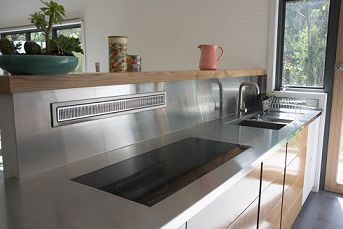 Stainless steel benchtop and splashback