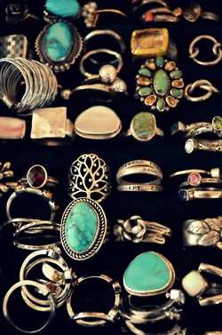 Love the turquoise and vintage rings!!!