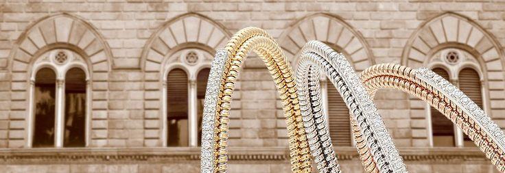 Foto de cabecera de la marca italiana 999, con joyas en oro blanco y diamantes.