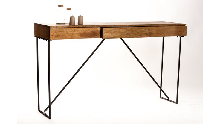 Console/ bureau design bois métal 3 tiroirs