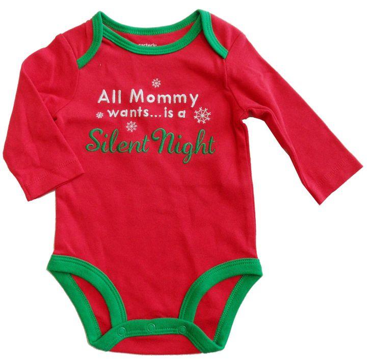 new CARTER'S girls boys CHRISTMAS FUN SILENT NIGHT BODYSUIT nwt newborn nb 3 mo #Carters #Holiday