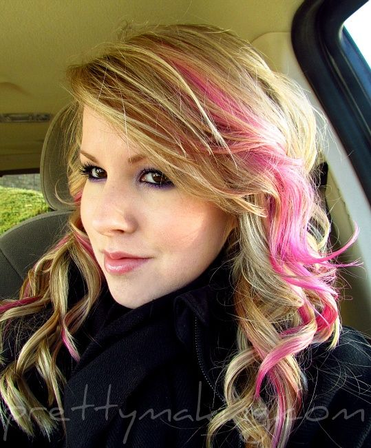 hair color blue blonde streaks - Google Search                                                                                                                                                      More