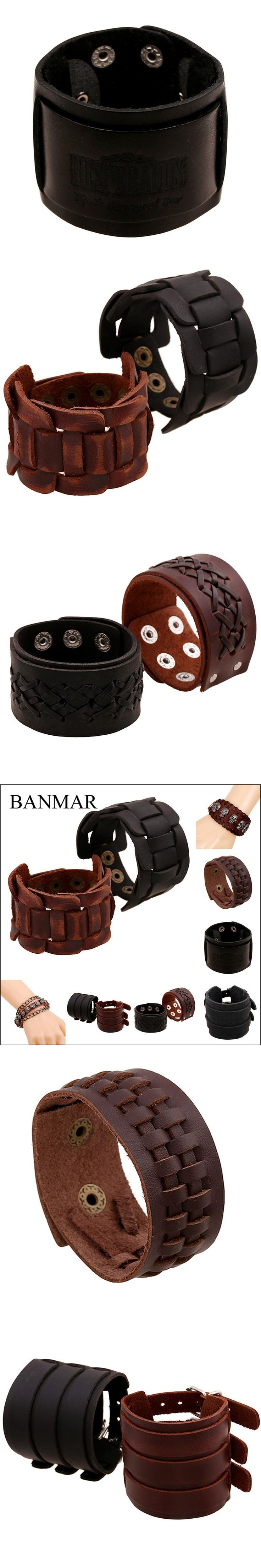 BANMAR Punk Braided Black & Brown Genuine Leather Bracelet With Alloy Buckle Adjustable Fashion Women & Men Bracelets Jewelry