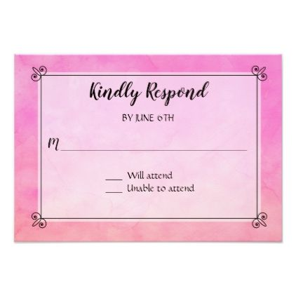Watercolor Simply Pink Wedding RSVP Response Reply Card - reply diy cyo unique personalize customize