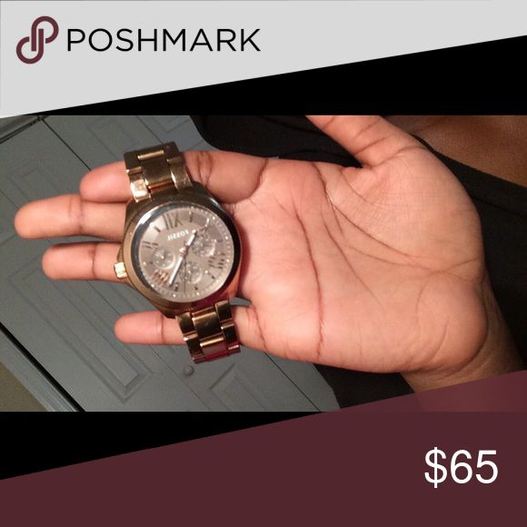 Gold Fossil Watch Still In Good Condition Fossil Jewelry